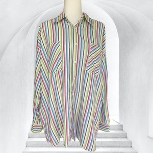 Men's Ted Baker Multi-Colored Pastel Striped Button Down Long Sleeve Shirt